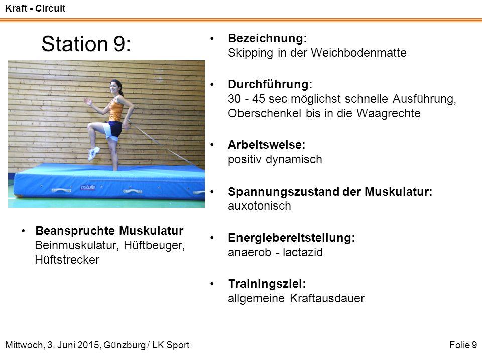 Kraft - Circuit Mittwoch, 3. Juni 2015, Günzburg / LK SportFolie 9 Station 9: Bezeichnung: Skipping in der Weichbodenmatte Durchführung: 30 - 45 sec m