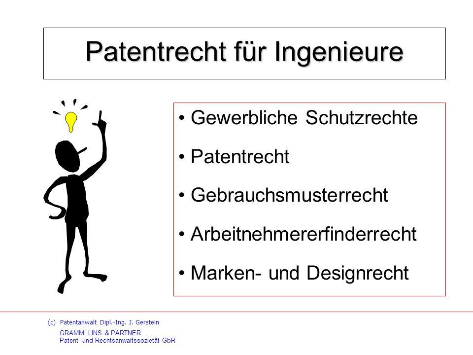GRAMM, LINS & PARTNER Patent- und Rechtsanwaltssozietät GbR Vorlesung: Patentrecht für Ingenieure FH Hannover – FB Elektrotechnik – III.Gebrauchsmusterrecht 1.Gebrauchsmusterfähigkeit - Erfinderischer Schritt 2.Schutzgegenstand 3.Definition des Stands der Technik 4.Unterschiede zur Patentanmeldung / zum Patent 5.Gebrauchsmusterabzweigung 6.Löschungsverfahren
