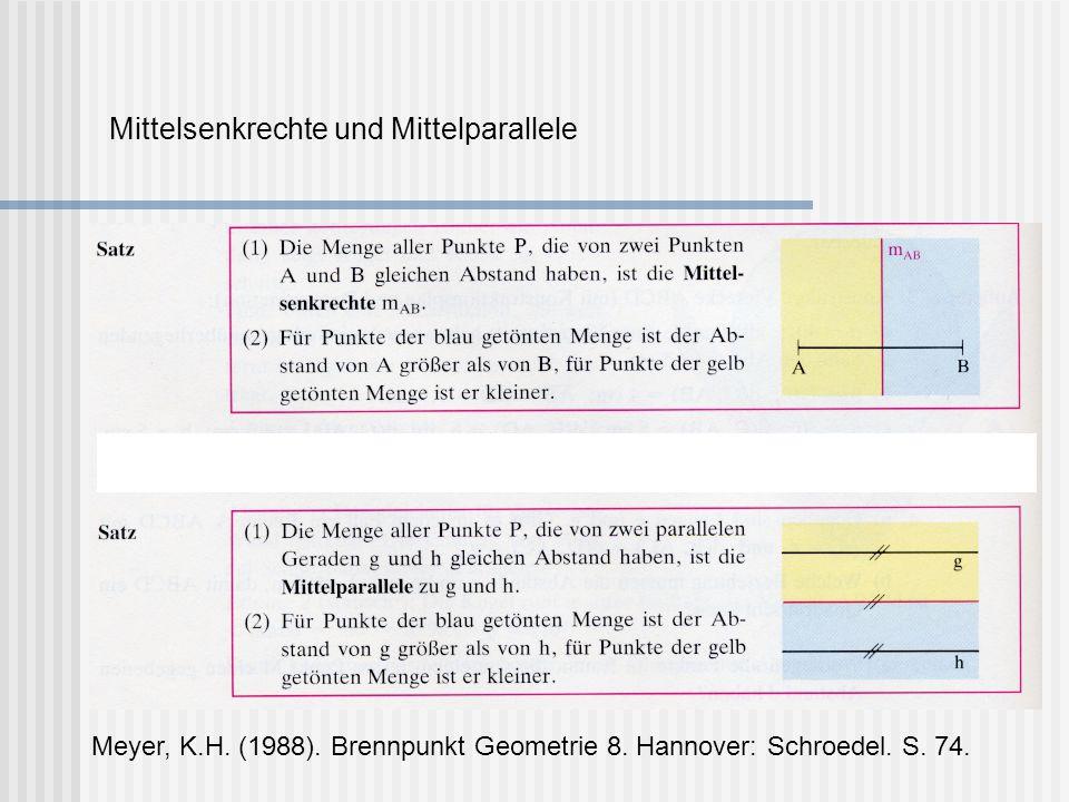 Mittelsenkrechte und Mittelparallele Meyer, K.H. (1988). Brennpunkt Geometrie 8. Hannover: Schroedel. S. 74.