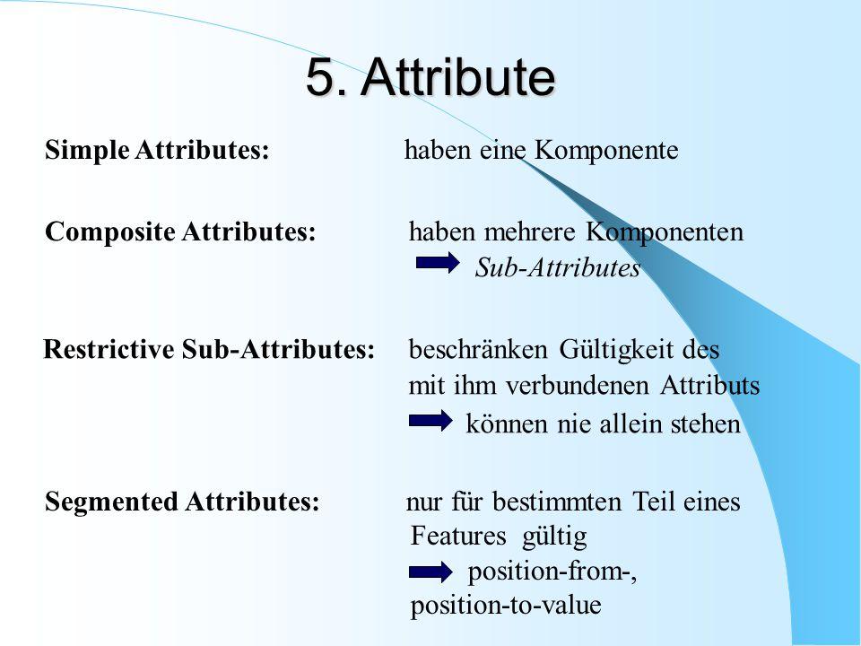 Restrictive Sub-Attributes: beschränken Gültigkeit des mit ihm verbundenen Attributs können nie allein stehen Simple Attributes: haben eine Komponente