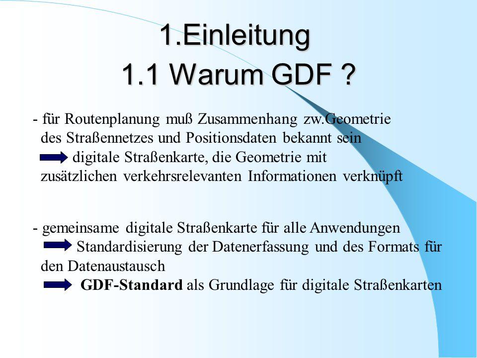 1.1 Warum GDF ? - für Routenplanung muß Zusammenhang zw.Geometrie des Straßennetzes und Positionsdaten bekannt sein digitale Straßenkarte, die Geometr