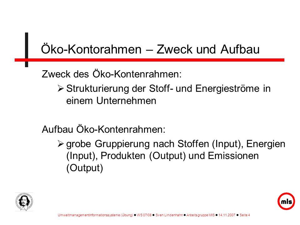 Umweltmanagementinformationssysteme (Übung) WS 07/08 Sven Lindenhahn Arbeitsgruppe MIS 14.11.2007 Seite 4 Öko-Kontorahmen – Zweck und Aufbau Zweck des