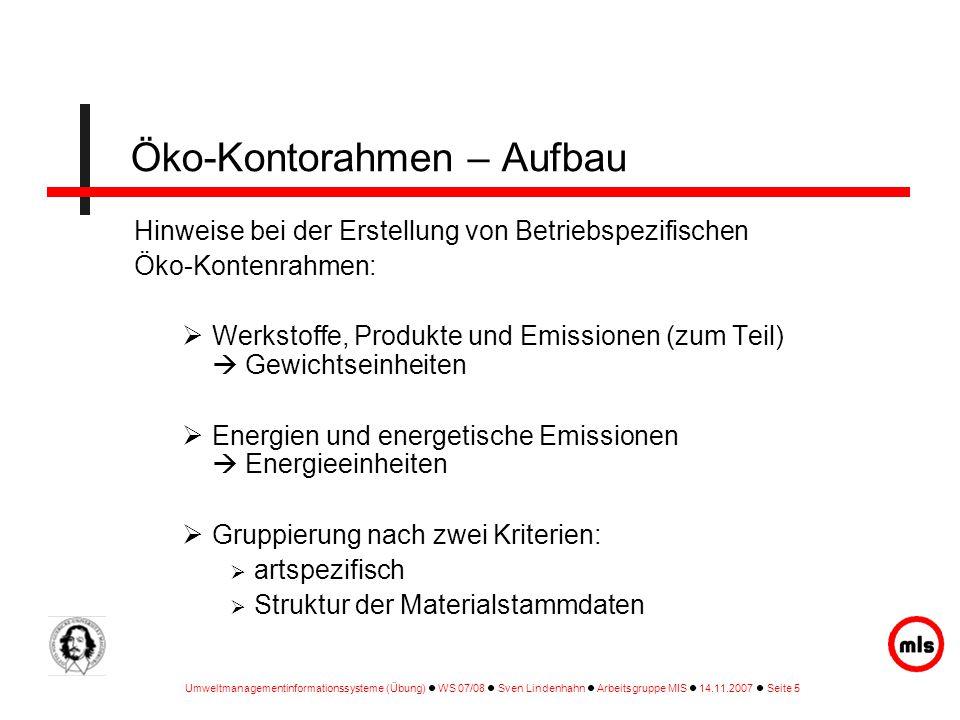 Umweltmanagementinformationssysteme (Übung) WS 07/08 Sven Lindenhahn Arbeitsgruppe MIS 14.11.2007 Seite 5 Hinweise bei der Erstellung von Betriebspezi