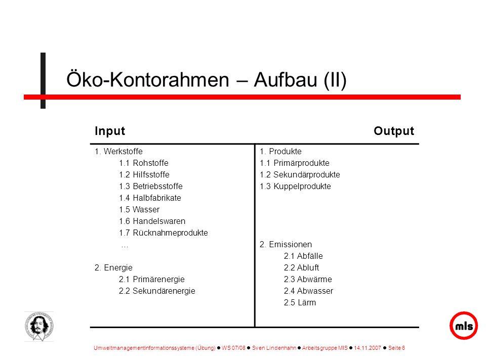 Umweltmanagementinformationssysteme (Übung) WS 07/08 Sven Lindenhahn Arbeitsgruppe MIS 14.11.2007 Seite 6 InputOutput 1. Werkstoffe 1.1 Rohstoffe 1.2