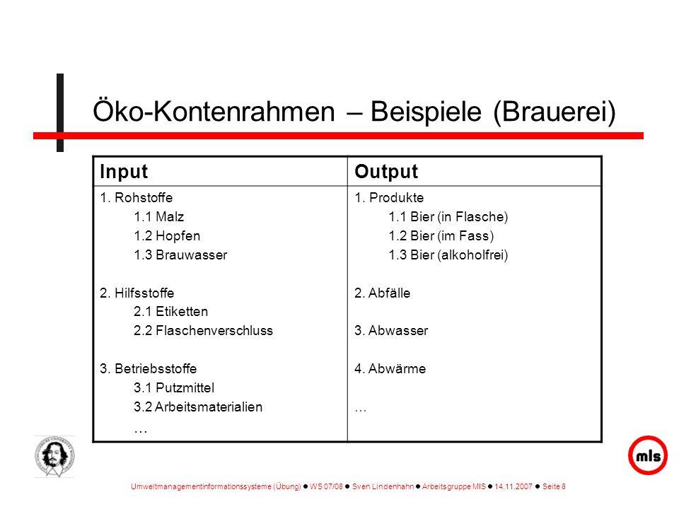 Umweltmanagementinformationssysteme (Übung) WS 07/08 Sven Lindenhahn Arbeitsgruppe MIS 14.11.2007 Seite 8 Öko-Kontenrahmen – Beispiele (Brauerei) Inpu