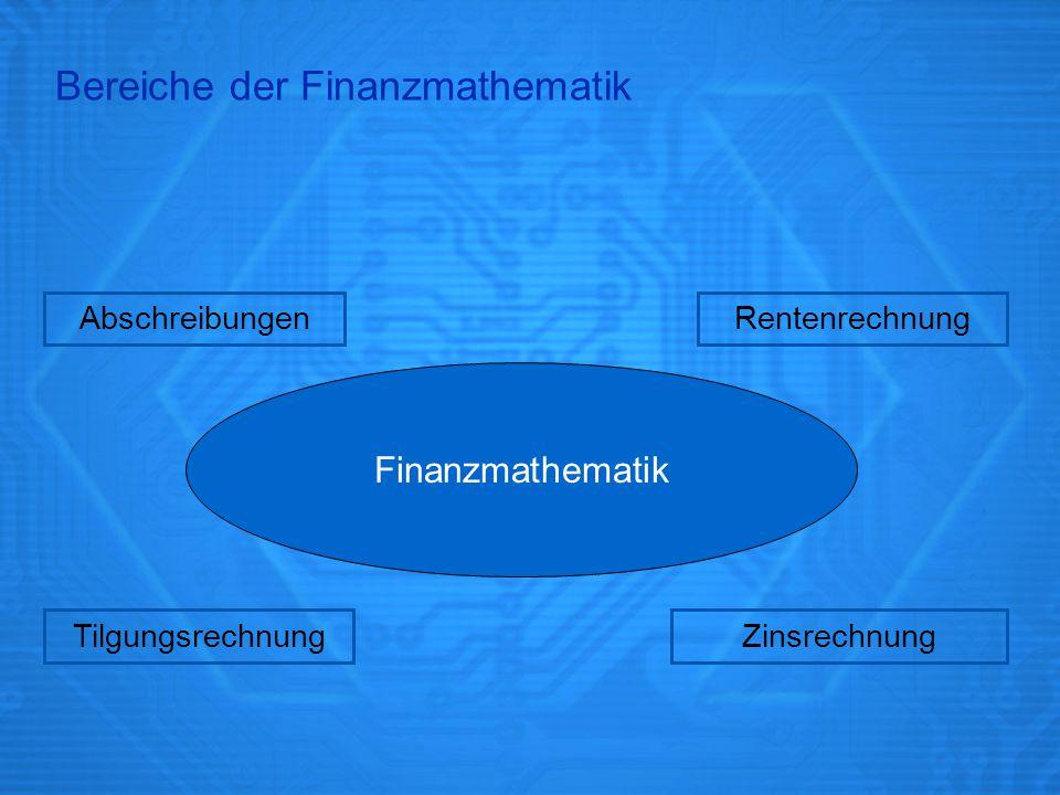Bereiche der Finanzmathematik Finanzmathematik TilgungsrechnungZinsrechnung RentenrechnungAbschreibungen