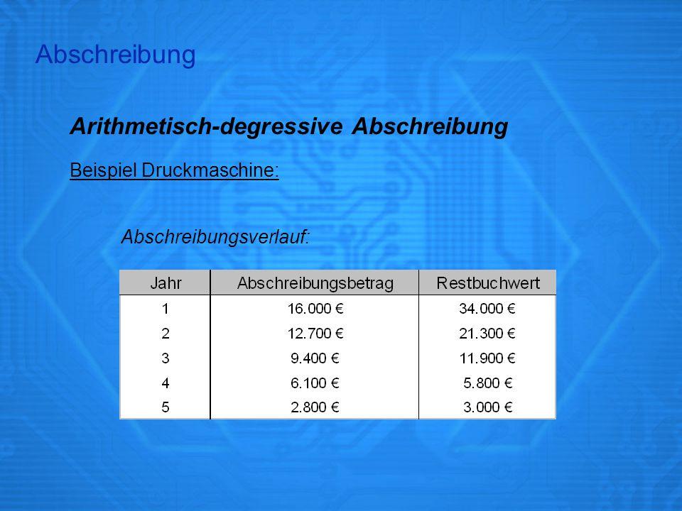 Arithmetisch-degressive Abschreibung Beispiel Druckmaschine: Abschreibungsverlauf: Abschreibung