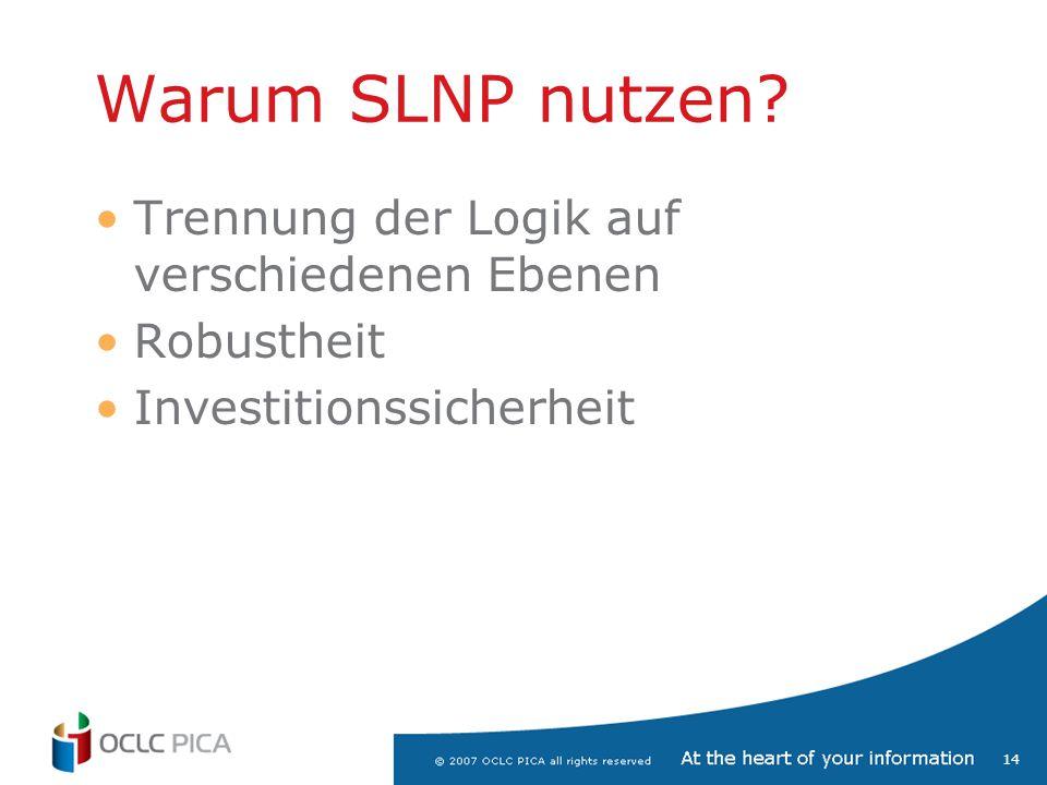 14 Warum SLNP nutzen? Trennung der Logik auf verschiedenen Ebenen Robustheit Investitionssicherheit