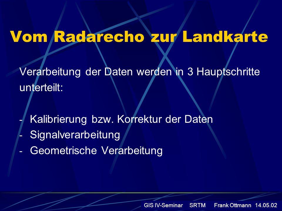 Vom Radarecho zur Landkarte Verarbeitung der Daten werden in 3 Hauptschritte unterteilt: - Kalibrierung bzw. Korrektur der Daten - Signalverarbeitung