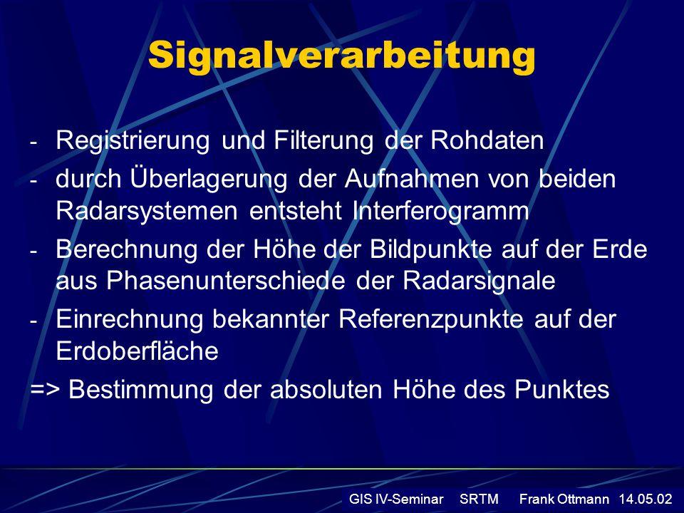 Signalverarbeitung - Registrierung und Filterung der Rohdaten - durch Überlagerung der Aufnahmen von beiden Radarsystemen entsteht Interferogramm - Be