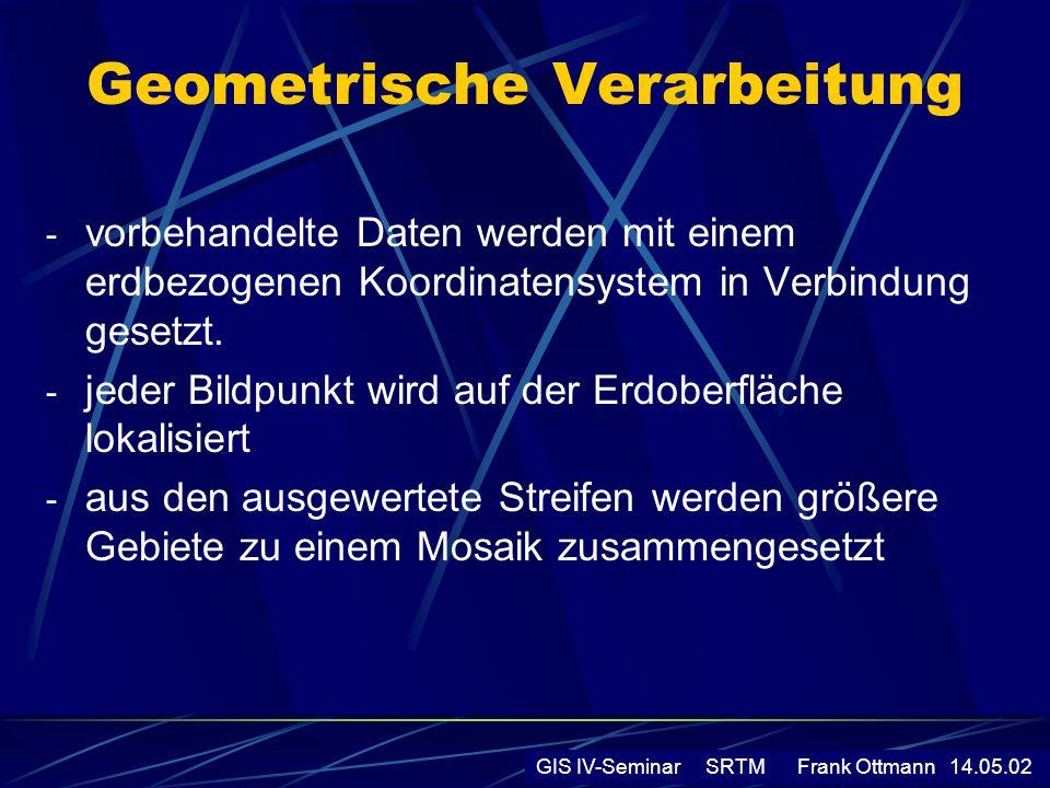 Geometrische Verarbeitung - vorbehandelte Daten werden mit einem erdbezogenen Koordinatensystem in Verbindung gesetzt. - jeder Bildpunkt wird auf der