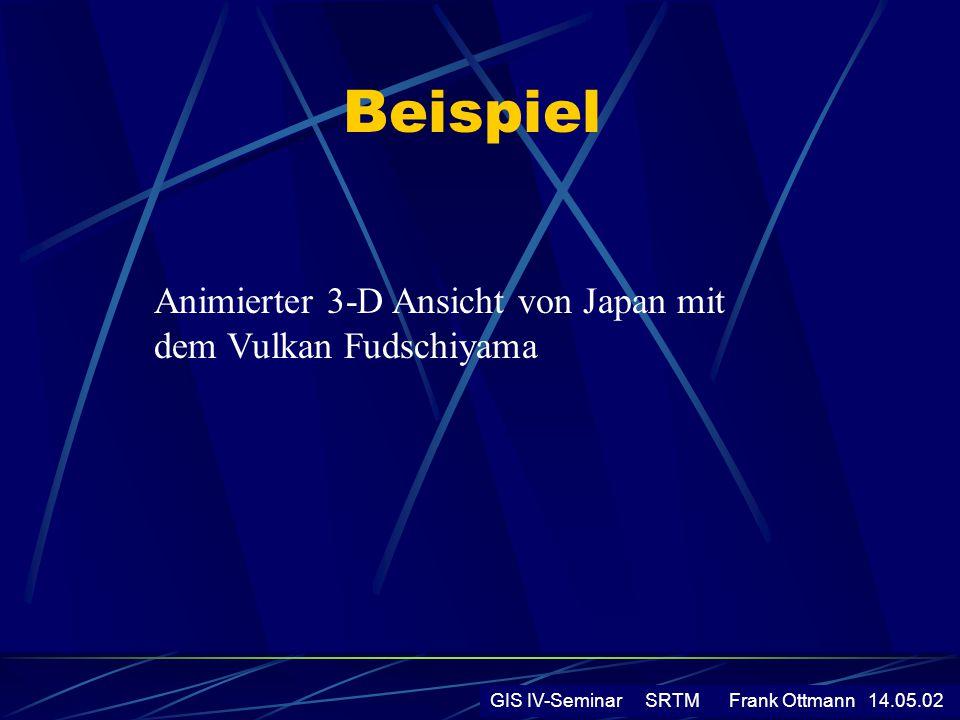 Beispiel GIS IV-Seminar SRTM Frank Ottmann 14.05.02 Animierter 3-D Ansicht von Japan mit dem Vulkan Fudschiyama