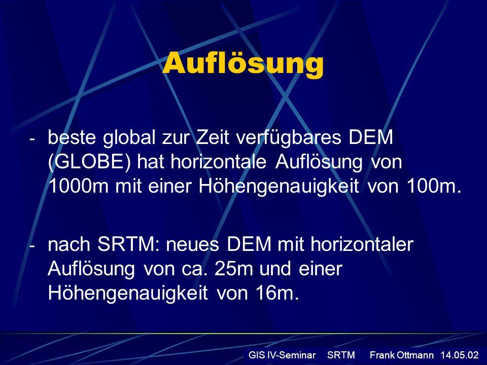 Auflösung - beste global zur Zeit verfügbares DEM (GLOBE) hat horizontale Auflösung von 1000m mit einer Höhengenauigkeit von 100m. - nach SRTM: neues