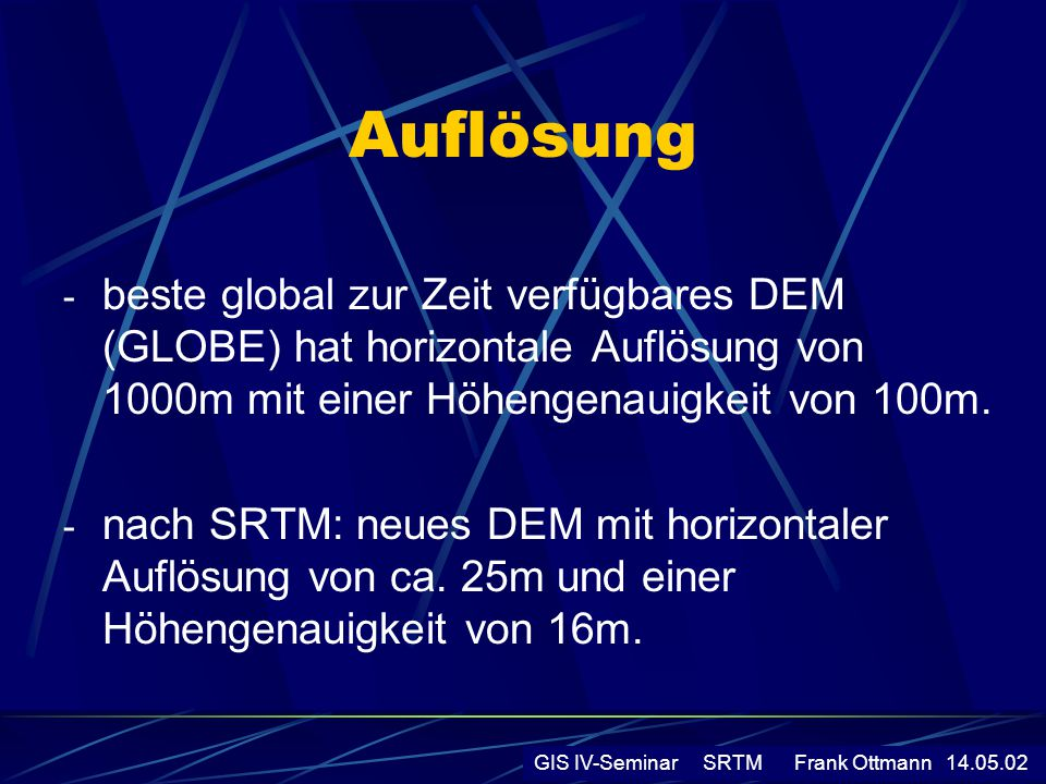 Messprinzip GIS IV-Seminar SRTM Frank Ottmann 14.05.02