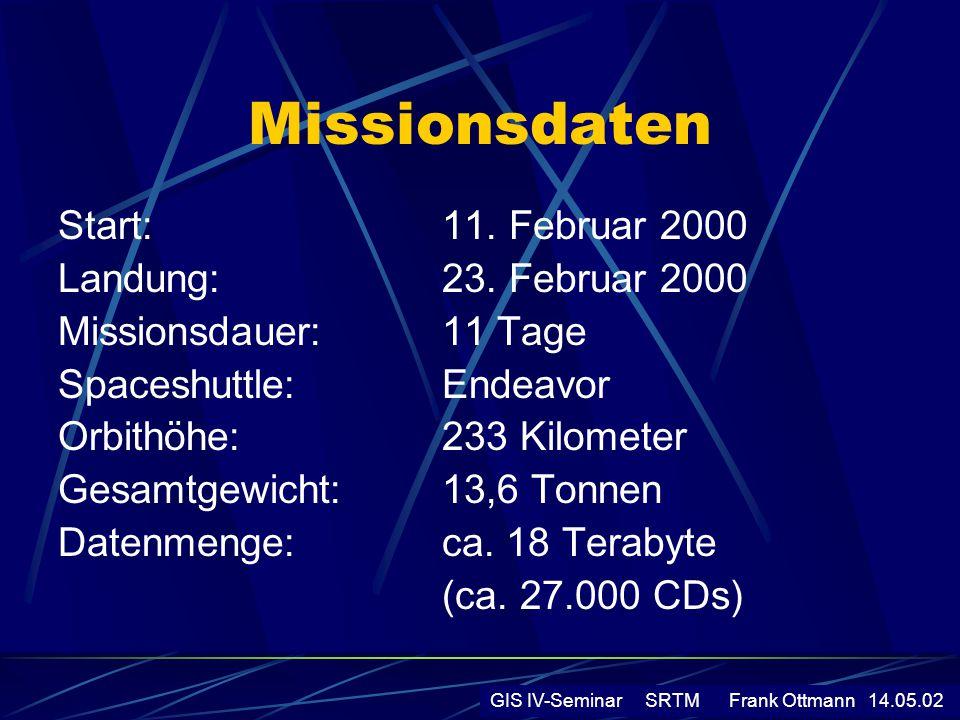 Missionsdaten Start:11. Februar 2000 Landung:23. Februar 2000 Missionsdauer:11 Tage Spaceshuttle:Endeavor Orbithöhe:233 Kilometer Gesamtgewicht:13,6 T