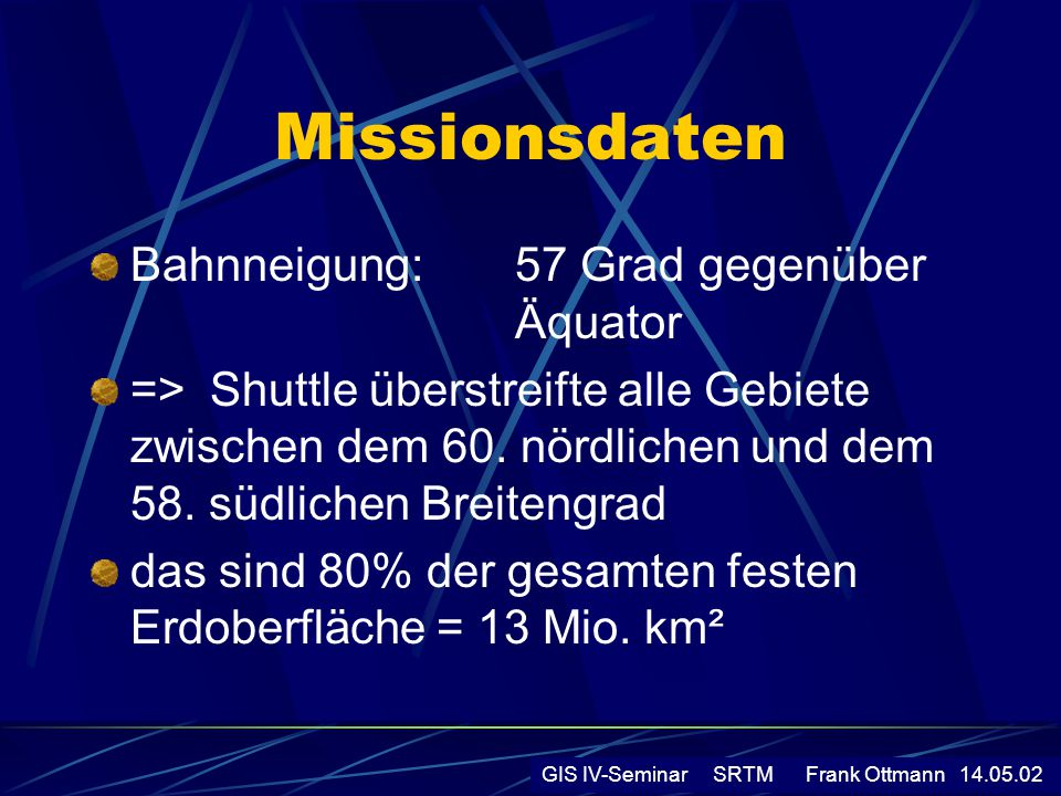 Missionsdaten Bahnneigung: 57 Grad gegenüber Äquator => Shuttle überstreifte alle Gebiete zwischen dem 60. nördlichen und dem 58. südlichen Breitengra