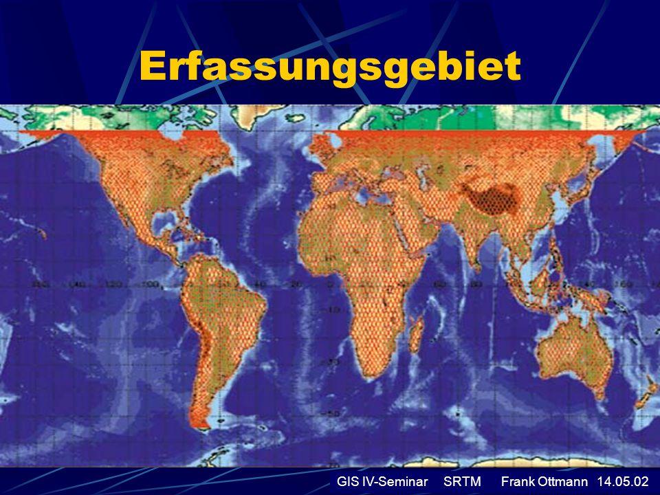 SRTM-Radarsystem Um aus 200km Entfernung auf dem Erdboden 2 Objekte von 10m Größe unterscheiden zukönnen, bräuchte man eine Antenne von 700 m Durchmesser.