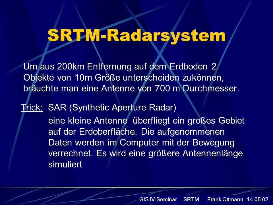Signalverarbeitung - Registrierung und Filterung der Rohdaten - durch Überlagerung der Aufnahmen von beiden Radarsystemen entsteht Interferogramm - Berechnung der Höhe der Bildpunkte auf der Erde aus Phasenunterschiede der Radarsignale - Einrechnung bekannter Referenzpunkte auf der Erdoberfläche => Bestimmung der absoluten Höhe des Punktes GIS IV-Seminar SRTM Frank Ottmann 14.05.02