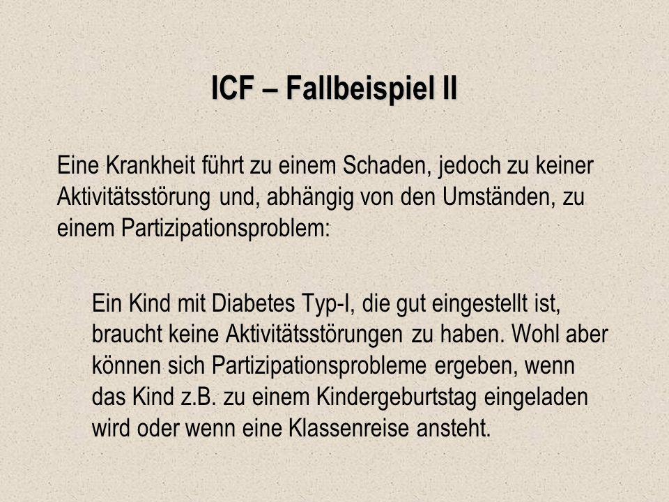 ICF – Fallbeispiel II Eine Krankheit führt zu einem Schaden, jedoch zu keiner Aktivitätsstörung und, abhängig von den Umständen, zu einem Partizipatio