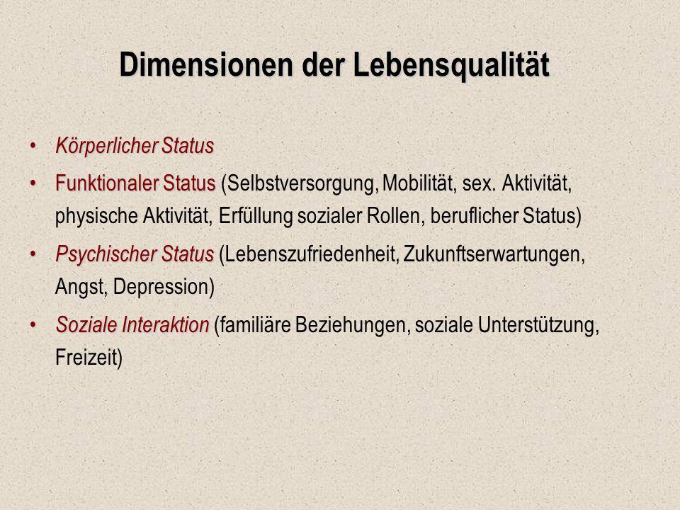 Dimensionen der Lebensqualität Körperlicher Status Körperlicher Status Funktionaler StatusFunktionaler Status (Selbstversorgung, Mobilität, sex. Aktiv