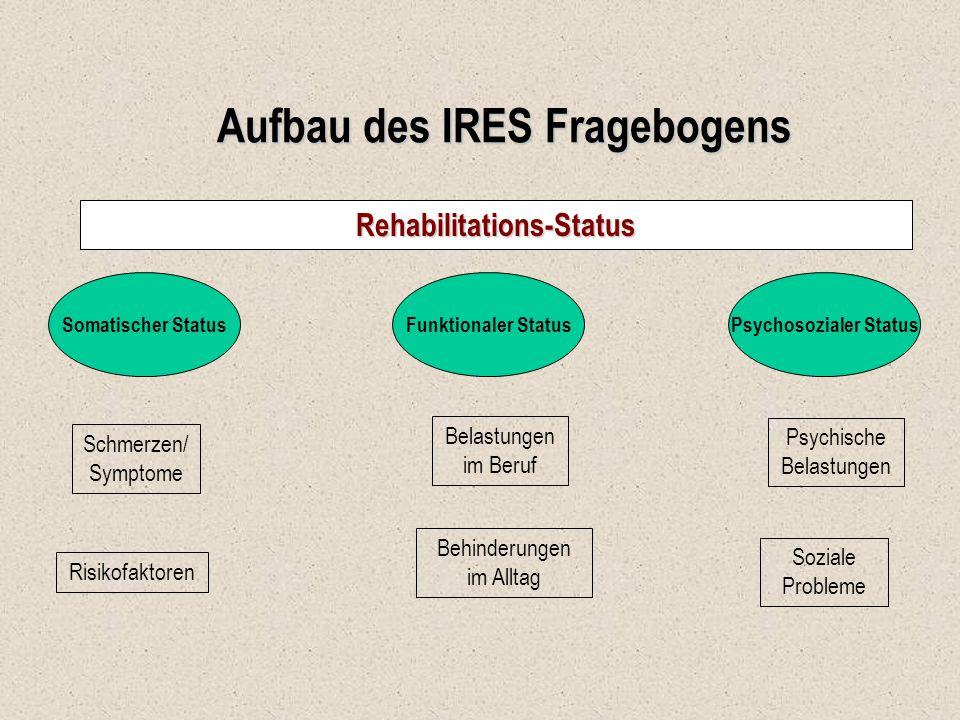 Aufbau des IRES Fragebogens Rehabilitations-Status Somatischer StatusFunktionaler StatusPsychosozialer Status Schmerzen/ Symptome Risikofaktoren Belas