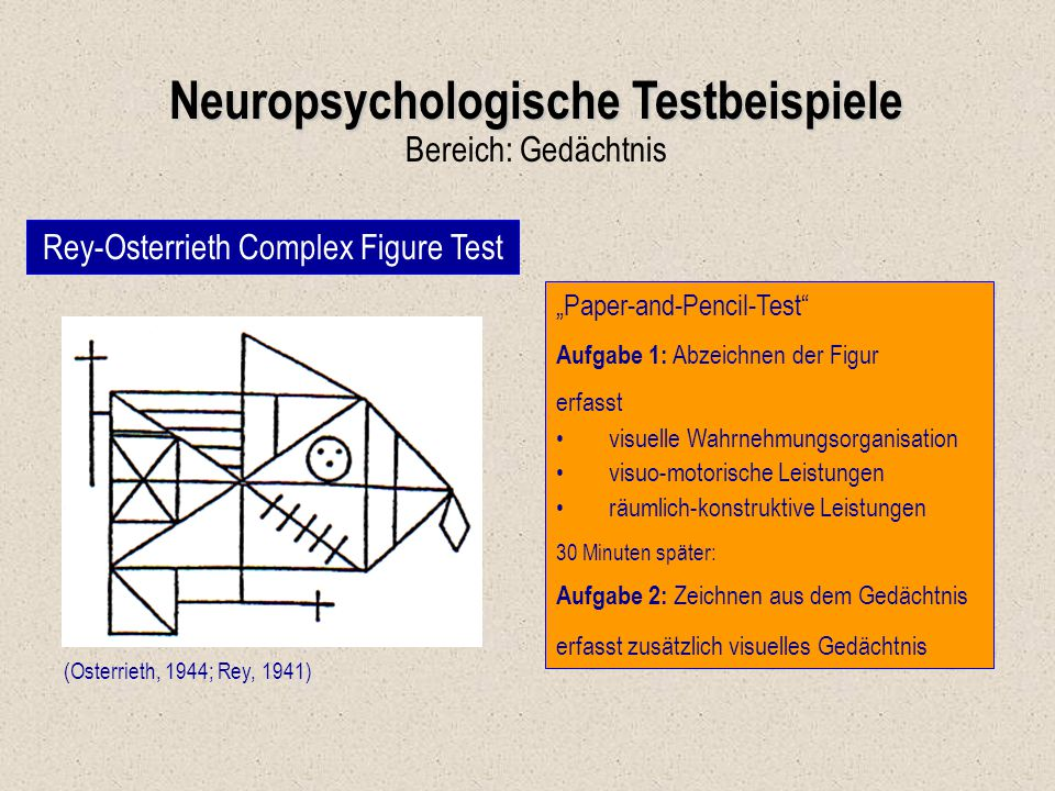"""Neuropsychologische Testbeispiele Bereich: Gedächtnis Rey-Osterrieth Complex Figure Test (Osterrieth, 1944; Rey, 1941) """"Paper-and-Pencil-Test"""" Aufgabe"""