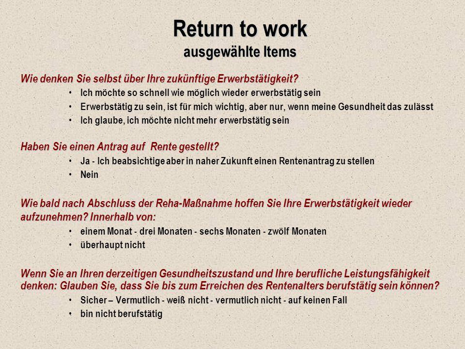 Return to work ausgewählte Items Wie denken Sie selbst über Ihre zukünftige Erwerbstätigkeit? Ich möchte so schnell wie möglich wieder erwerbstätig se