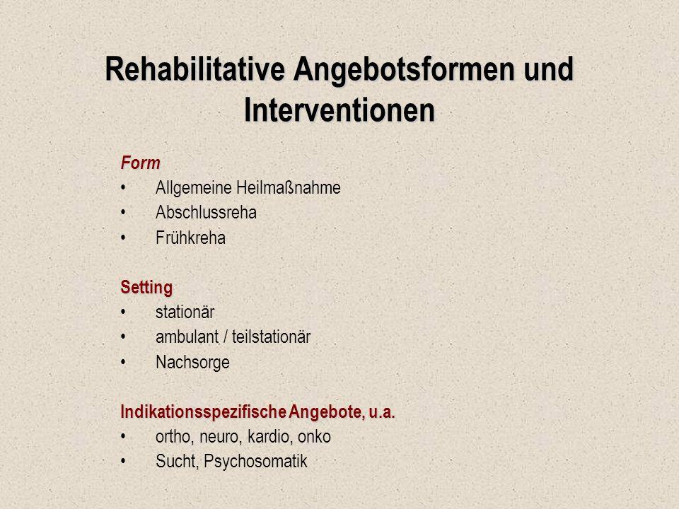 Rehabilitative Angebotsformen und Interventionen Form Allgemeine Heilmaßnahme Abschlussreha FrühkrehaSetting stationär ambulant / teilstationär Nachso