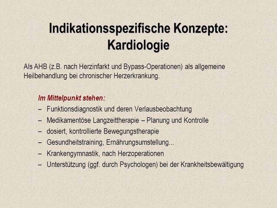 Indikationsspezifische Konzepte: Kardiologie Als AHB (z.B. nach Herzinfarkt und Bypass-Operationen) als allgemeine Heilbehandlung bei chronischer Herz