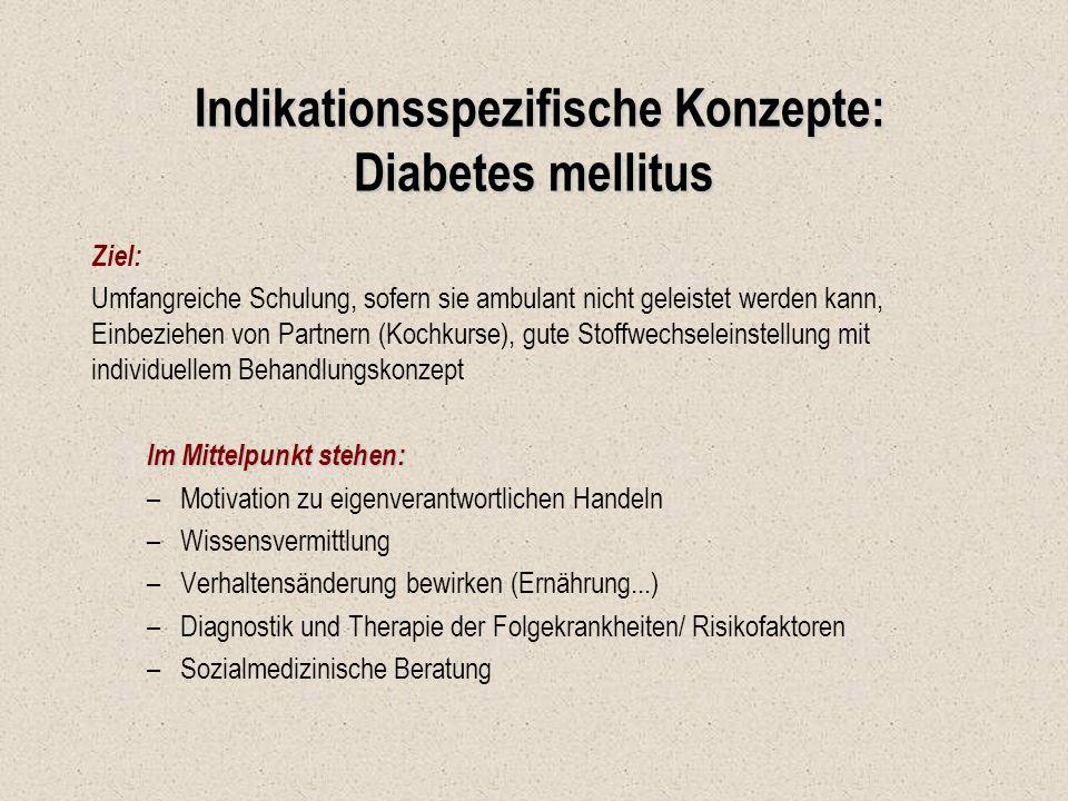 Indikationsspezifische Konzepte: Diabetes mellitus Indikationsspezifische Konzepte: Diabetes mellitus Ziel: Umfangreiche Schulung, sofern sie ambulant
