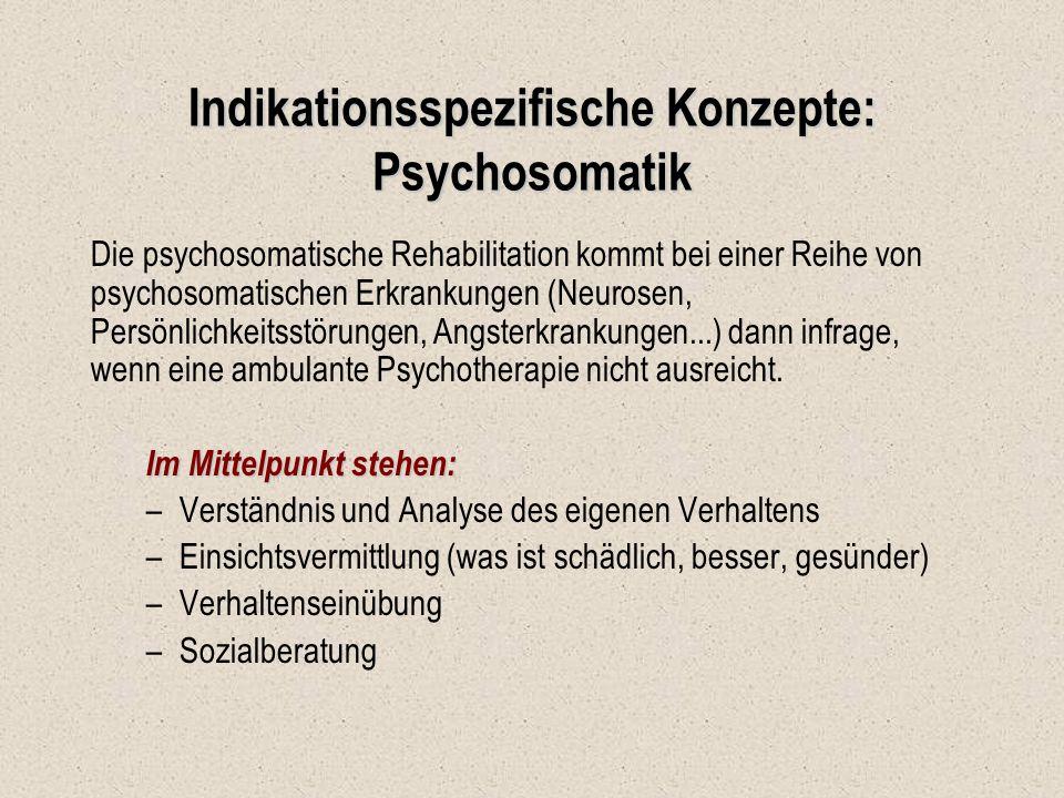 Indikationsspezifische Konzepte: Psychosomatik Die psychosomatische Rehabilitation kommt bei einer Reihe von psychosomatischen Erkrankungen (Neurosen,