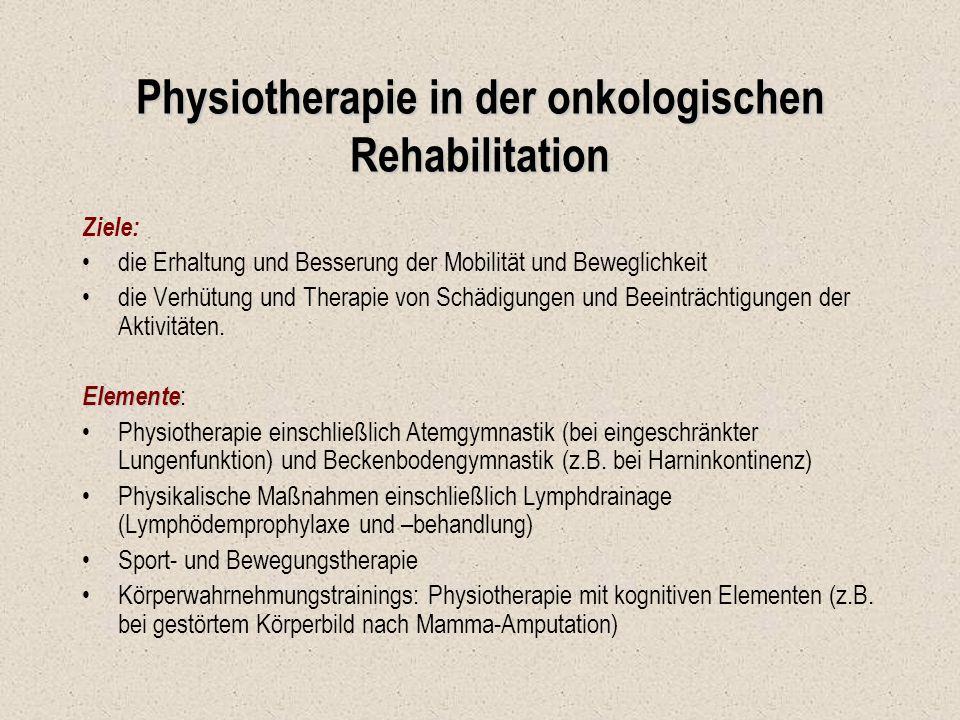 Physiotherapie in der onkologischen Rehabilitation Ziele: die Erhaltung und Besserung der Mobilität und Beweglichkeit die Verhütung und Therapie von S