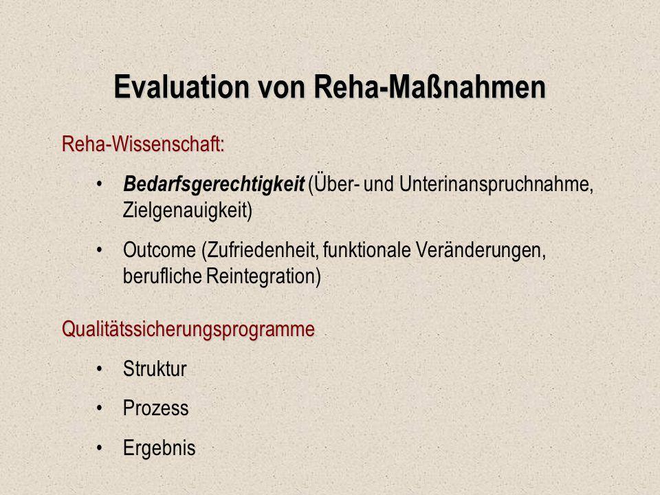 Evaluation von Reha-Maßnahmen Reha-Wissenschaft: Bedarfsgerechtigkeit (Über- und Unterinanspruchnahme, Zielgenauigkeit) Outcome (Zufriedenheit, funkti