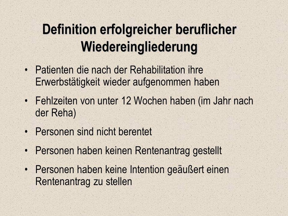 Definition erfolgreicher beruflicher Wiedereingliederung Patienten die nach der Rehabilitation ihre Erwerbstätigkeit wieder aufgenommen haben Fehlzeit