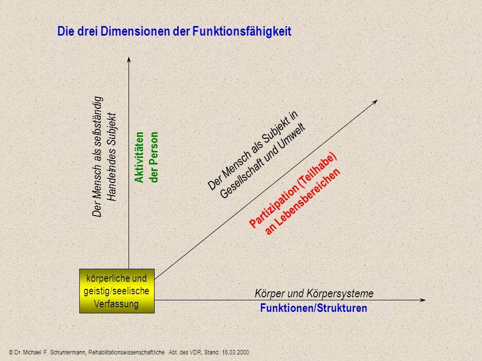 körperliche und geistig/seelische Verfassung Körper und Körpersysteme Funktionen/Strukturen Aktivitäten der Person Partizipation (Teilhabe) an Lebensb