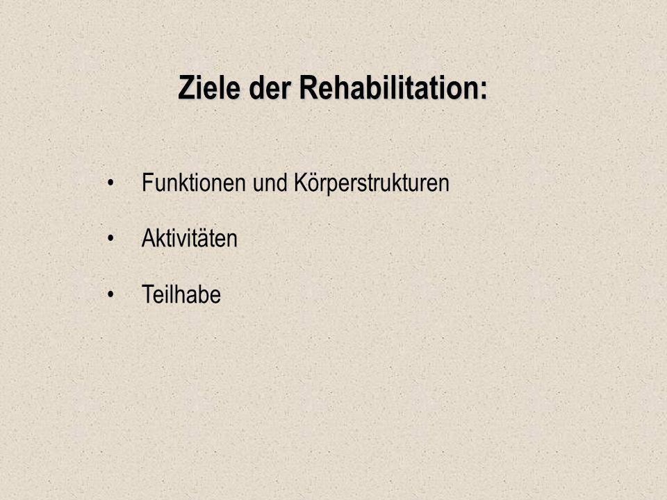 Ziele der Rehabilitation: Funktionen und Körperstrukturen Aktivitäten Teilhabe