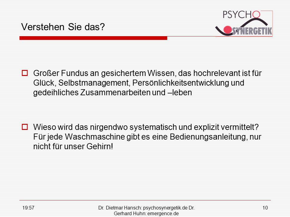 19:59Dr. Dietmar Hansch: psychosynergetik.de Dr. Gerhard Huhn: emergence.de 10 Verstehen Sie das?  Großer Fundus an gesichertem Wissen, das hochrelev