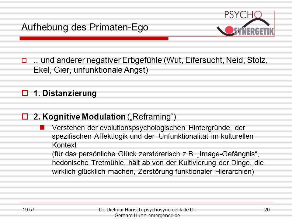 19:59Dr. Dietmar Hansch: psychosynergetik.de Dr. Gerhard Huhn: emergence.de 20 Aufhebung des Primaten-Ego ... und anderer negativer Erbgefühle (Wut,