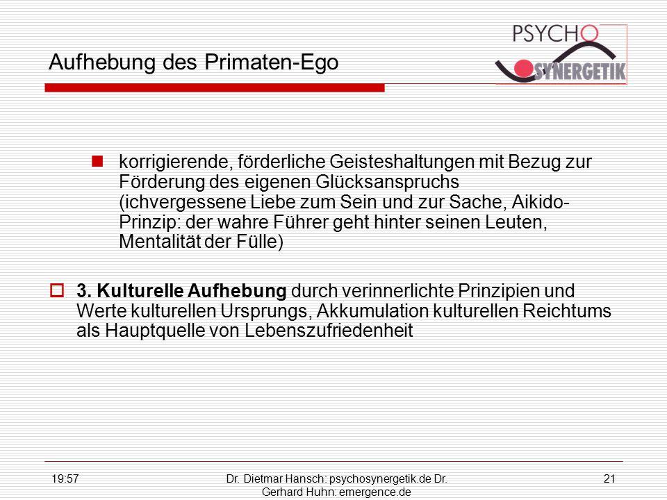 19:59Dr. Dietmar Hansch: psychosynergetik.de Dr. Gerhard Huhn: emergence.de 21 Aufhebung des Primaten-Ego korrigierende, förderliche Geisteshaltungen