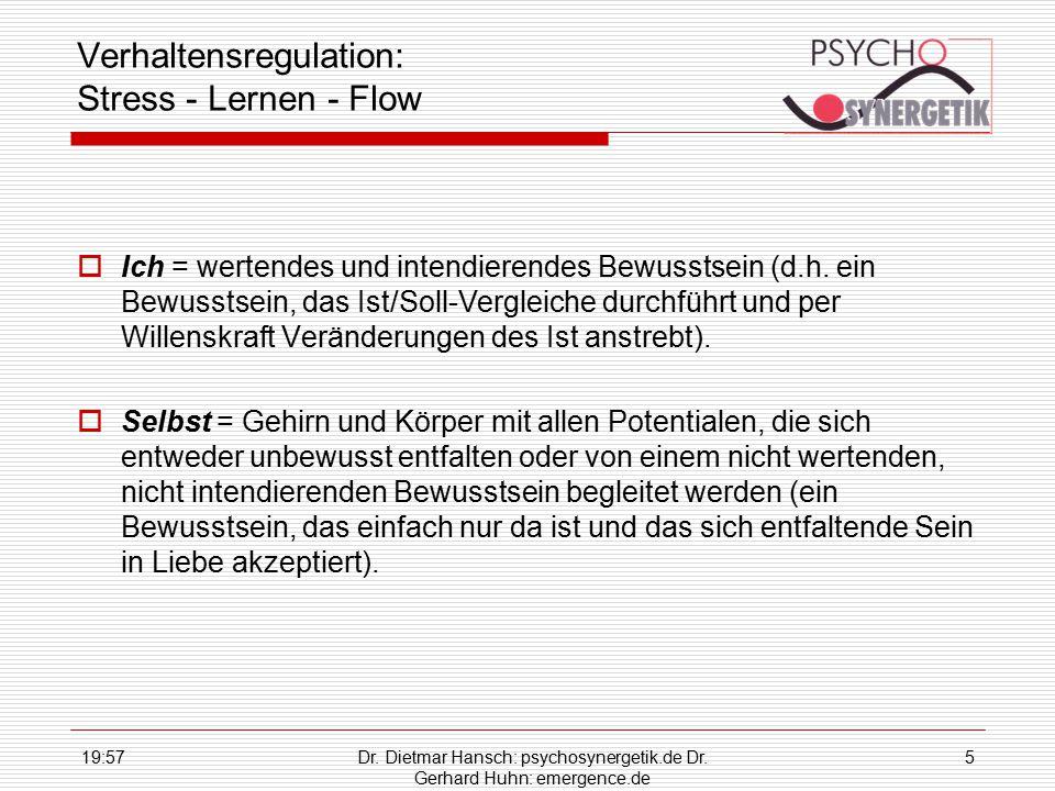 19:59Dr. Dietmar Hansch: psychosynergetik.de Dr. Gerhard Huhn: emergence.de 5 Verhaltensregulation: Stress - Lernen - Flow  Ich = wertendes und inten