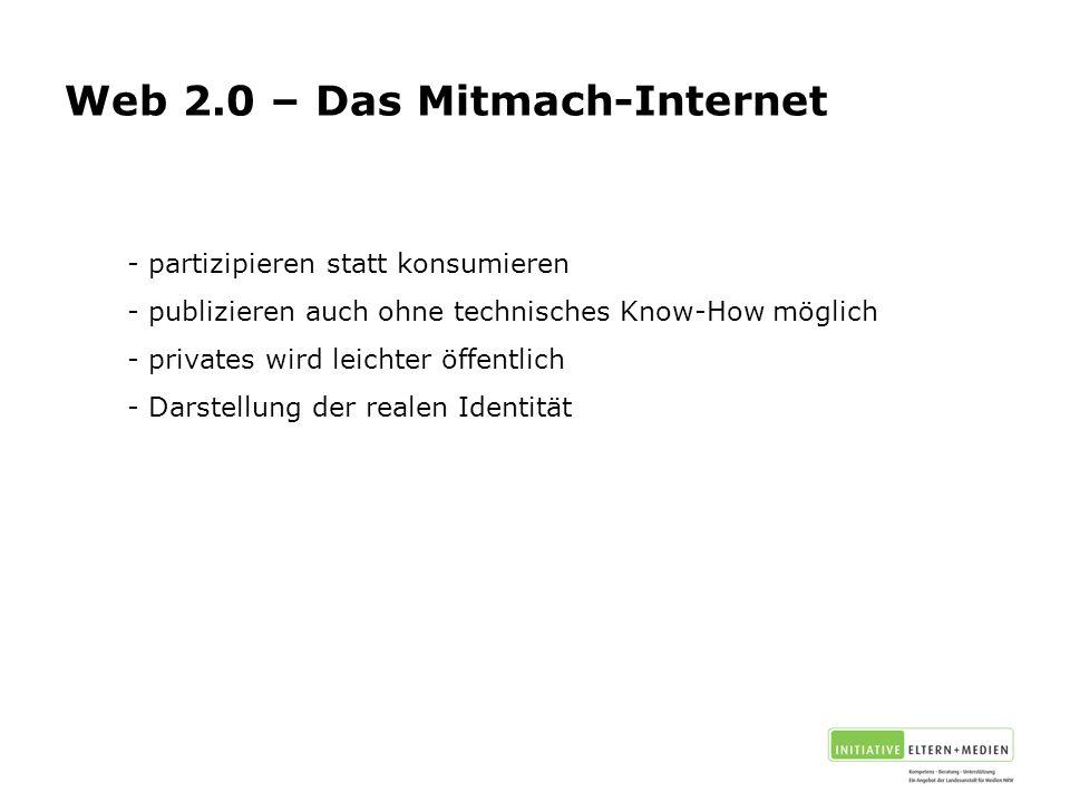 - partizipieren statt konsumieren - publizieren auch ohne technisches Know-How möglich - privates wird leichter öffentlich - Darstellung der realen Identität Web 2.0 – Das Mitmach-Internet