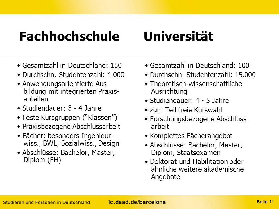 Seite 11 Fachhochschule Universität Gesamtzahl in Deutschland: 150 Durchschn. Studentenzahl: 4.000 Anwendungsorientierte Aus- bildung mit integrierten