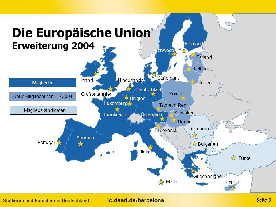 Seite 3 Mitglieder Neue Mitglieder seit 1.5.2004 Mitgliedskandidaten Die Europäische Union Erweiterung 2004 Belgien Tschech.Rep. Slowakei Polen Sloven