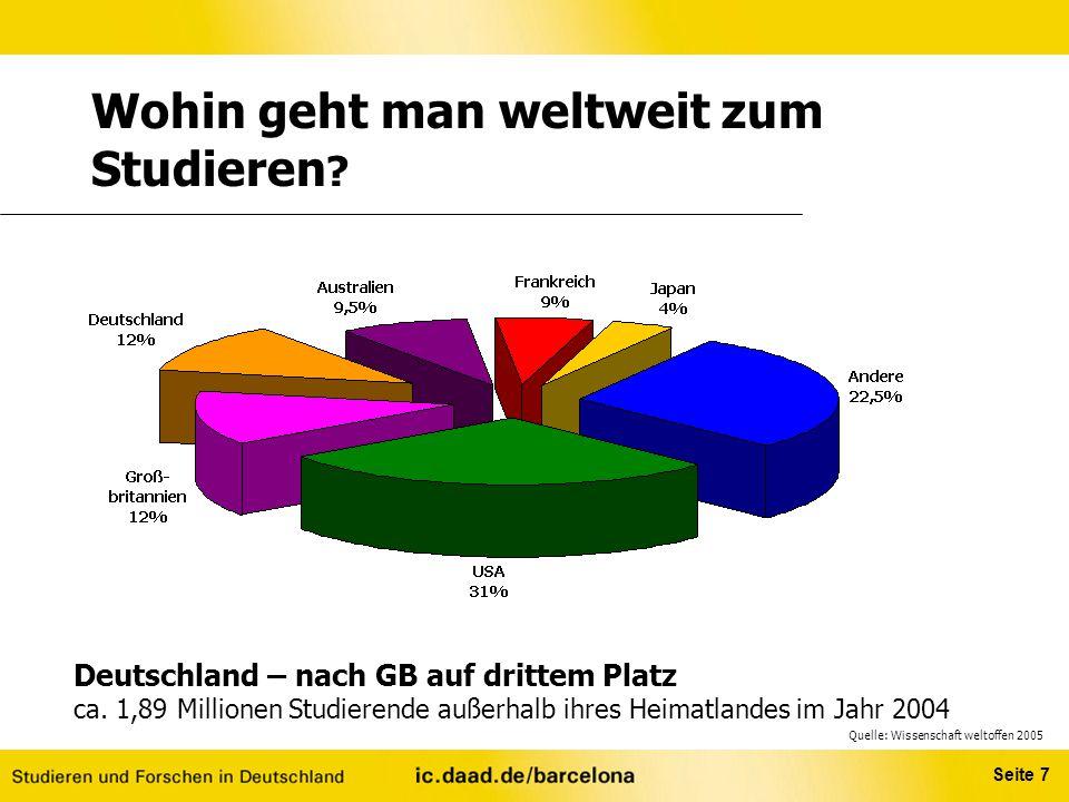 Seite 7 Deutschland – nach GB auf drittem Platz ca. 1,89 Millionen Studierende außerhalb ihres Heimatlandes im Jahr 2004 Wohin geht man weltweit zum S