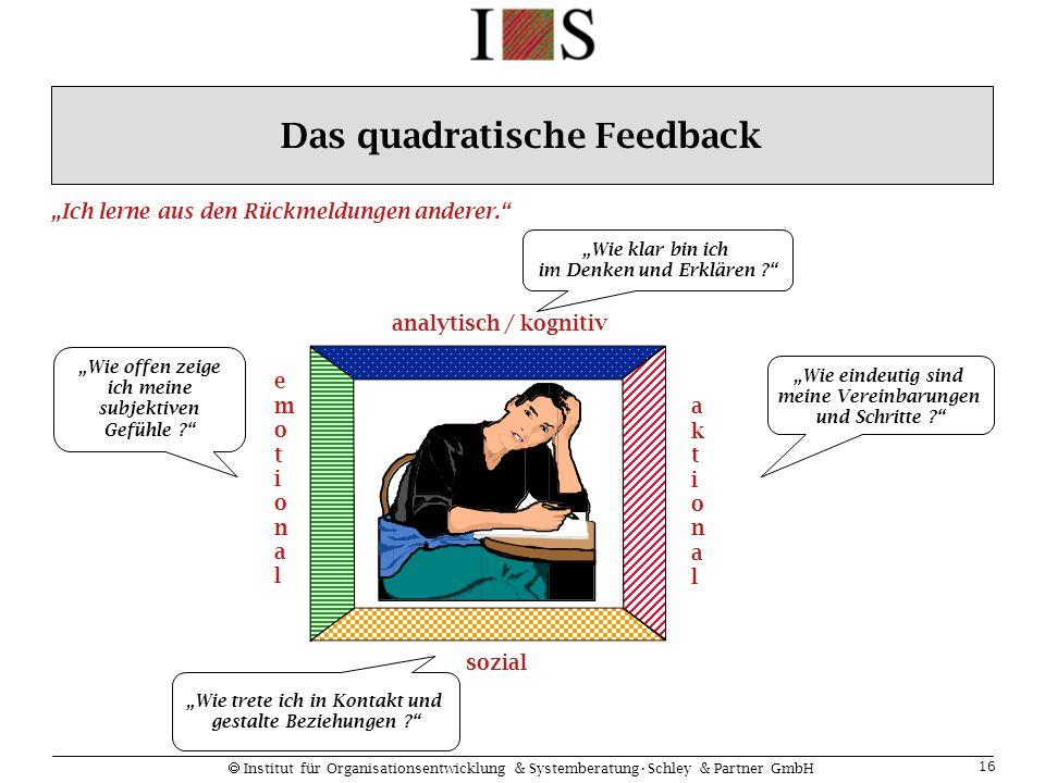 """ Institut für Organisationsentwicklung & SystemberatungSchley & Partner GmbH 16 analytisch / kognitiv sozial aktionalaktional emotionalemotional """"Wie"""