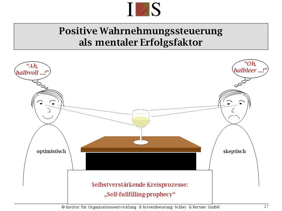 """ Institut für Organisationsentwicklung & SystemberatungSchley & Partner GmbH 17 Positive Wahrnehmungssteuerung als mentaler Erfolgsfaktor """"Ah, halbvo"""