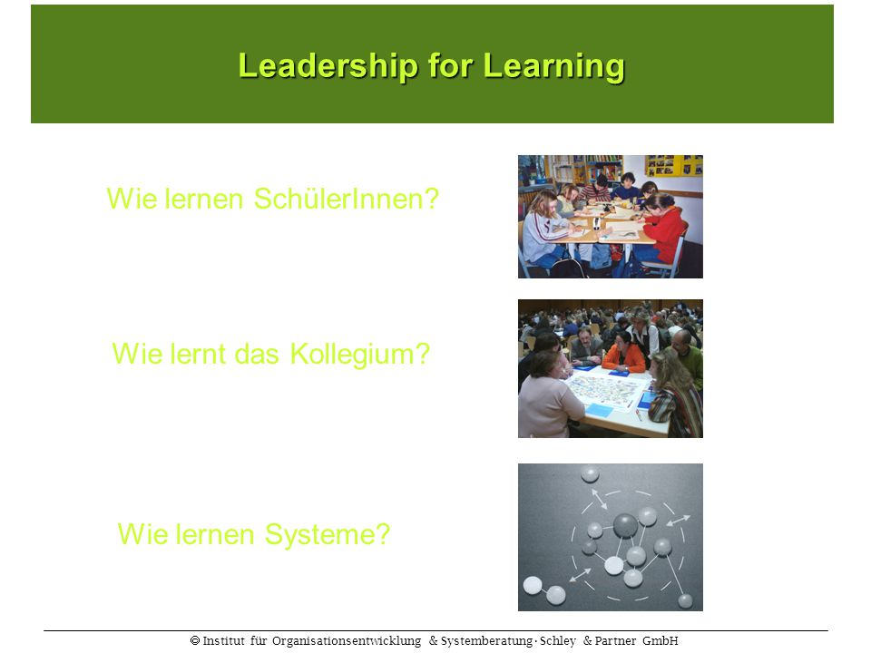  Institut für Organisationsentwicklung & SystemberatungSchley & Partner GmbH Wie lernen Systeme? Leadership for Learning Wie lernt das Kollegium? Wie