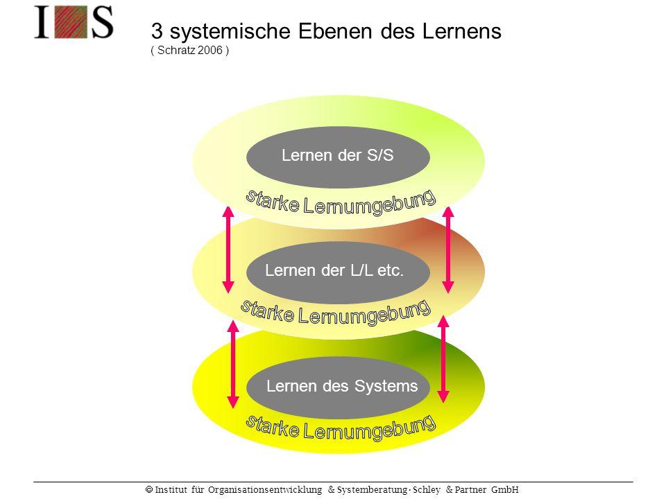  Institut für Organisationsentwicklung & SystemberatungSchley & Partner GmbH Lernen der S/S Lernen der L/L etc. Lernen des Systems 3 systemische Eben