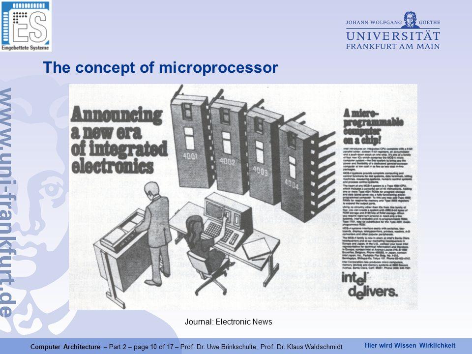 Hier wird Wissen Wirklichkeit Computer Architecture – Part 2 – page 10 of 17 – Prof.