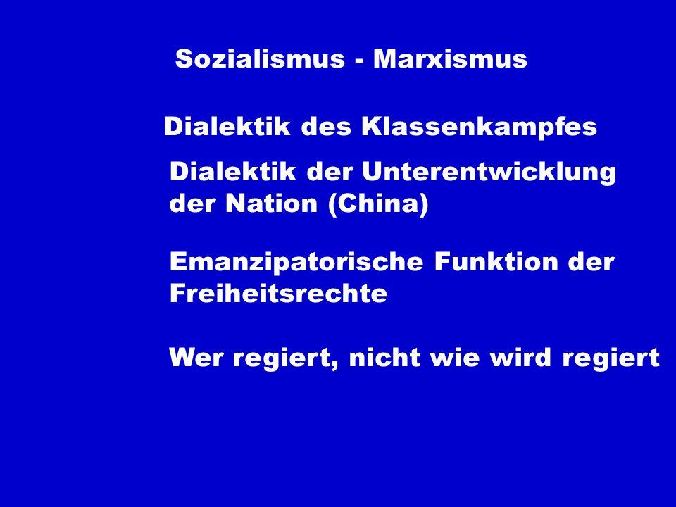 Sozialismus - Marxismus Dialektik des Klassenkampfes Dialektik der Unterentwicklung der Nation (China) Emanzipatorische Funktion der Freiheitsrechte Wer regiert, nicht wie wird regiert